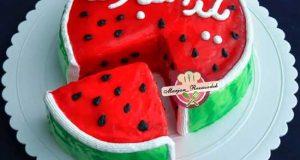 آموزش پخت کیک به شکل هندوانه برای شب یلدا