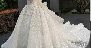 مدل لباس عروس دکلته پفی 2019