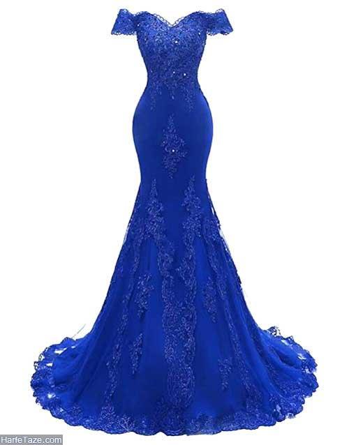 لباس مجلسی آبی کاربنی