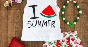 ست لباس تابستانی دخترانه با اکسسوری کامل