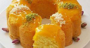 دستور پخت کیک هلو خانگی با سس هلو بسیار خوشمزه