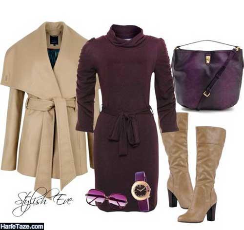 مدل های شیک و جدید ست لباس زمستانی بنفش زنانه ویژه سال جدید