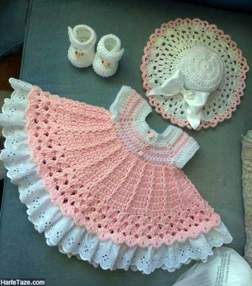 مدل های ست لباس بافتنی دختر بچه در رنگهای متنوع با پاپوش و کلاه