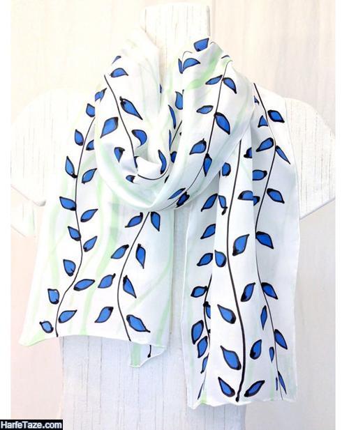 مدل شال و روسری آبی کلاسیک
