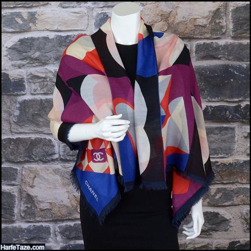 طرحهای مجلسی شال و روسری آبی کلاسیک