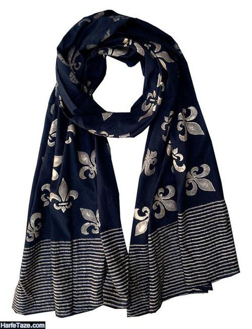 مدل شال و روسری آبی کلاسیک نخی