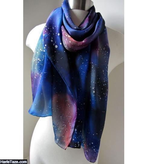 شال و روسری آبی کلاسیک