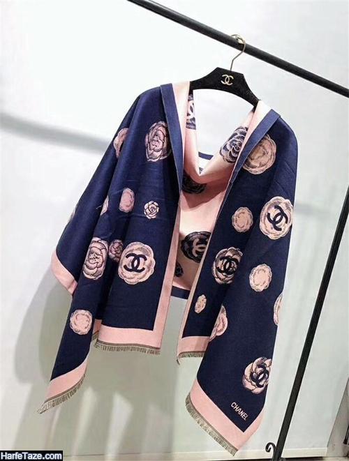 مدل طرحدار شال و روسری آبی کلاسیک