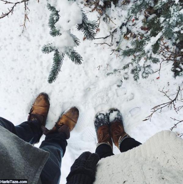 عکس دختر و پسر دونفره در زمستان