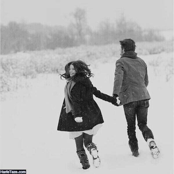 عکس دونفره در زمستان و برف بازی