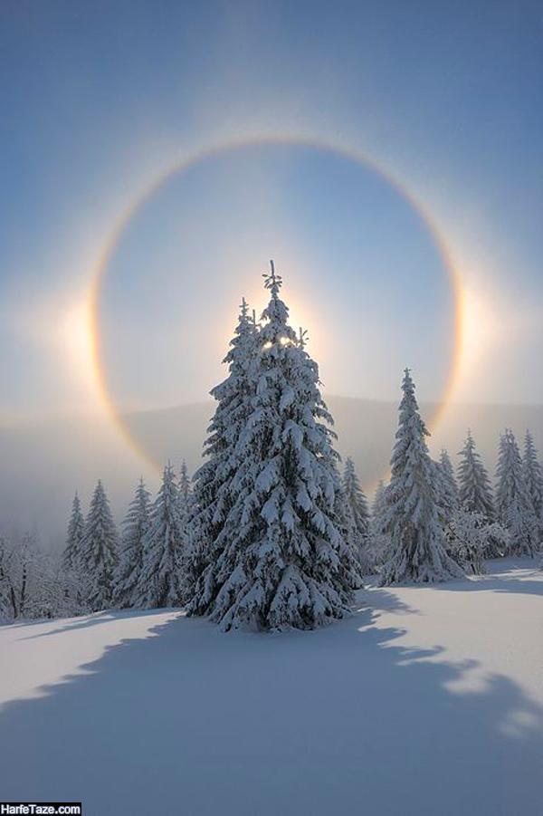 تصاویر رنگین کمان در هوای زمستان برای بک گراند زمستانی