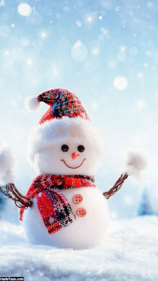 بک گراند زمستانی با تم آدم برفی