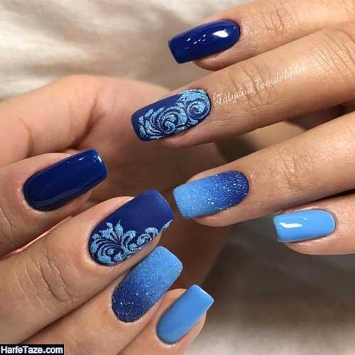 دیزاین ناخن آبی کلاسیک