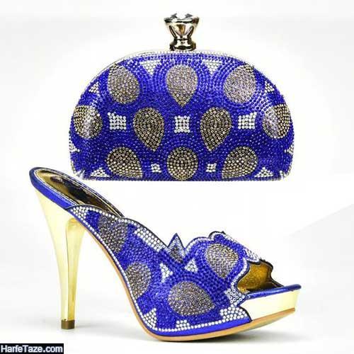 کیف و کفش آبی کلاسیک