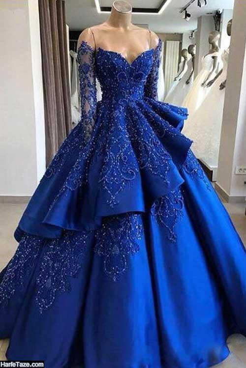 لباس مجلسی آبی کلاسیک