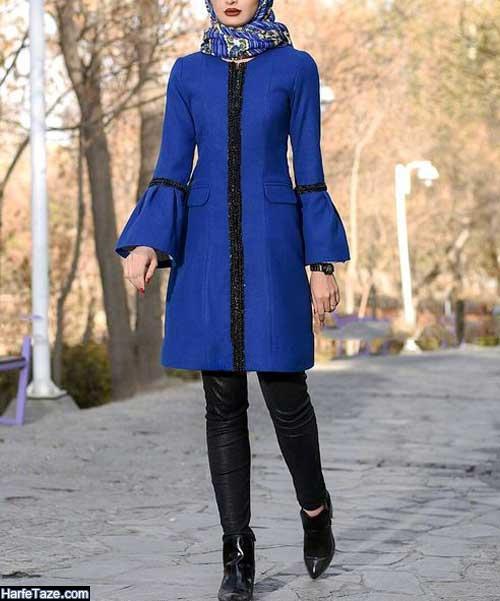 مانتو رنگ آبی کلاسیک