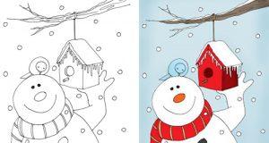 نقاشی زمستان و طبیعت برفی و آدم برفی برای رنگ آمیزی