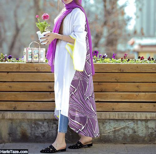 مدل مانتو گلدار 99 دو رنگ
