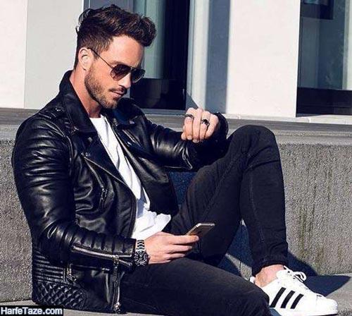 ژاکت مشکی چرمی مردانه