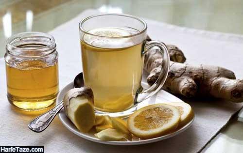 نوشیدنی مخلوط عسل و زنجیبیل