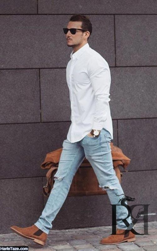 ست پیراهن سفید با شلوار جین 99