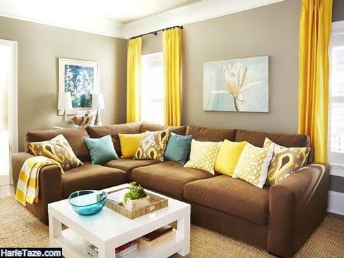 دکوراسیون خانه با رنگ زرد و قهوه ای و خاکستری