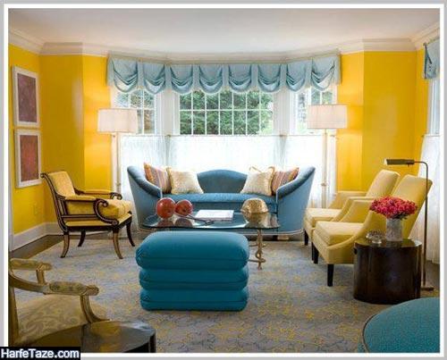 دکوراسیون خانه با رنگ زرد و آبی