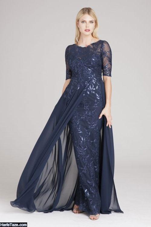 مدل لباس مجلسی گیپور آستین بلند