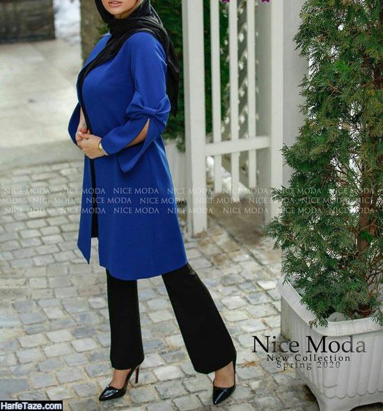 مدل مانتو کتی مجلسی رنگ آبی کلاسیک