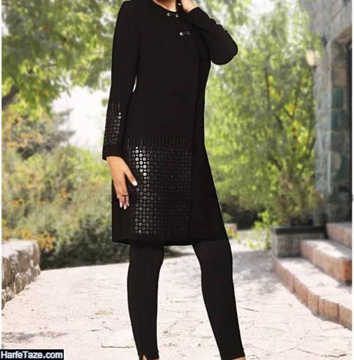 مدل مانتو مشکی کوتاه ویژه دختران شیک پوش