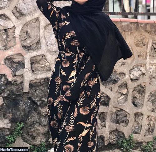 مدل مانتوی گلی گلی با تم سیاه برای تابستان 99