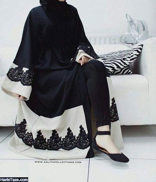 مدل مانتو بلند سیاه رنگ حریر و کرپ