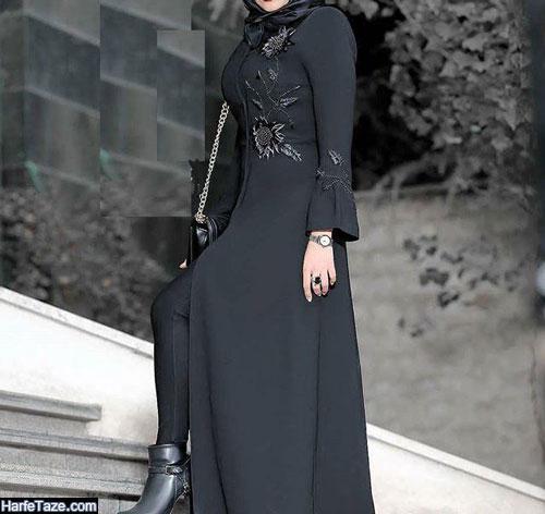 ژورنال مانتوهای سیاه بلند زنانه برای محرم و ختم