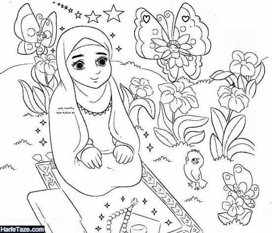نقاشیهای دختر در حال نماز خواندن در ماه رمضان