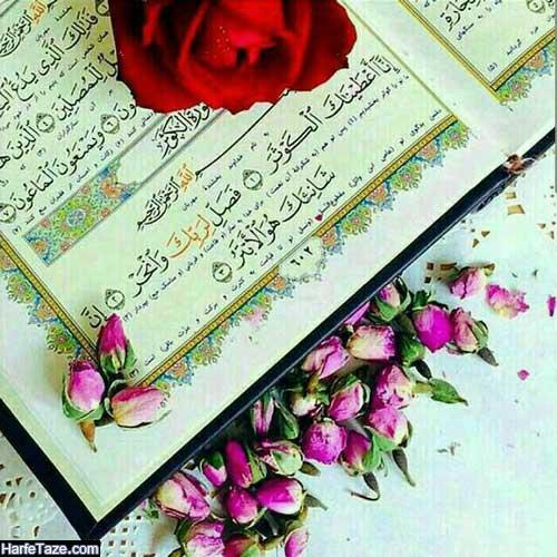 عکس پروفایل قرآن با گل رز