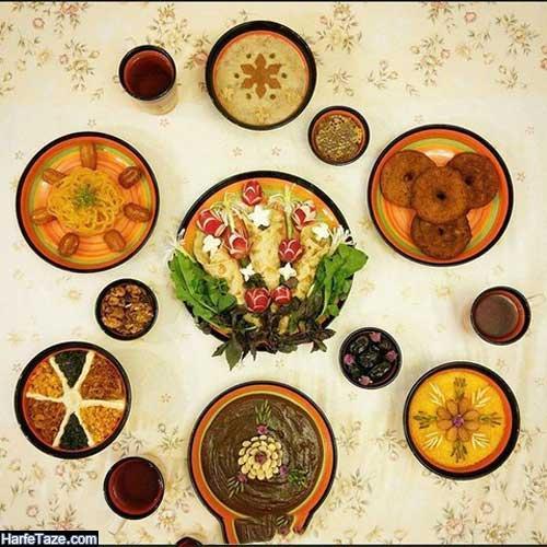 سفره افطاری مجلسی در طروف گل سرخ برای ماه رمضان امسال