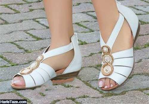 کفش صندل دخترانه سفید 99