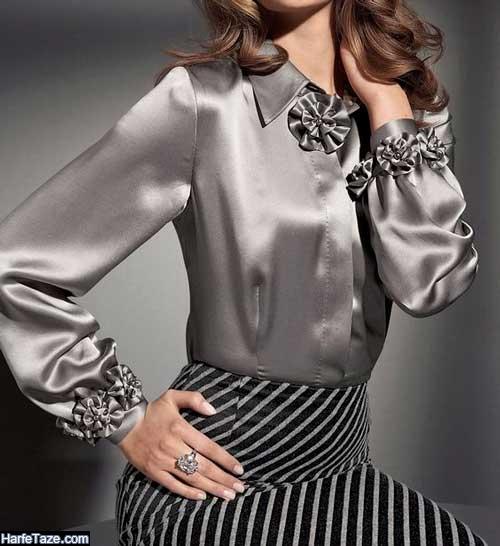 مدل تونیک و بلوز ساتن مجلسی دخترانه لاکچری