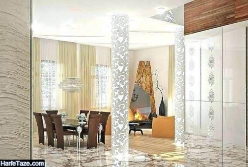 تزئین ستون خانه با آینه کاری