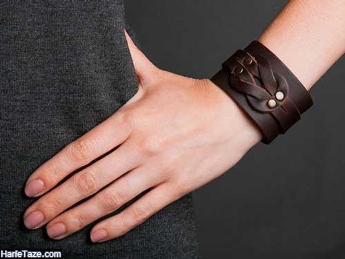 دستبند چرم دخترانه ساده پهن
