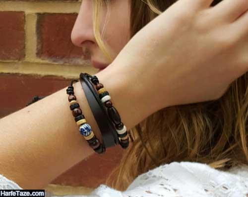 طرح جدید دستبند چرمی دخترانه 99