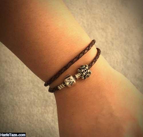 طرح خاص و جدید دستبند نقره از چرم