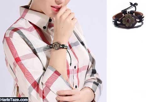 مدل فوق العاده زیبای دستبند چرم
