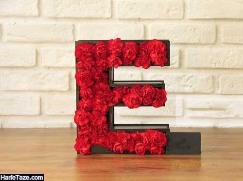 عکس پروفایل حروف E در باکس گل