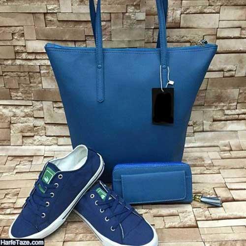 ست زیبای کیف وکفش دخترانه ۹۹ آبی کلاسیک