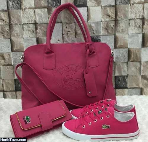 مدل کیف و کفش ست چرم زنانه طرح دار