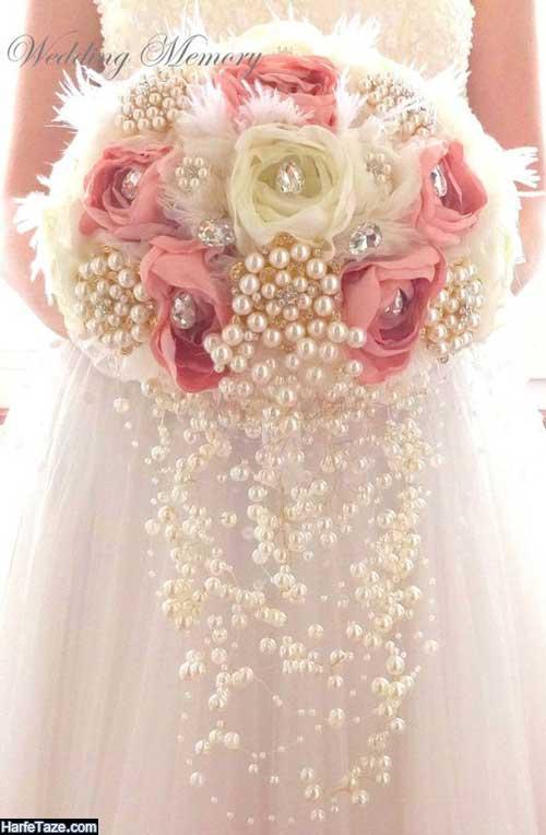 دسته گل عروس جدید و شیک 99 مدل آبشاری