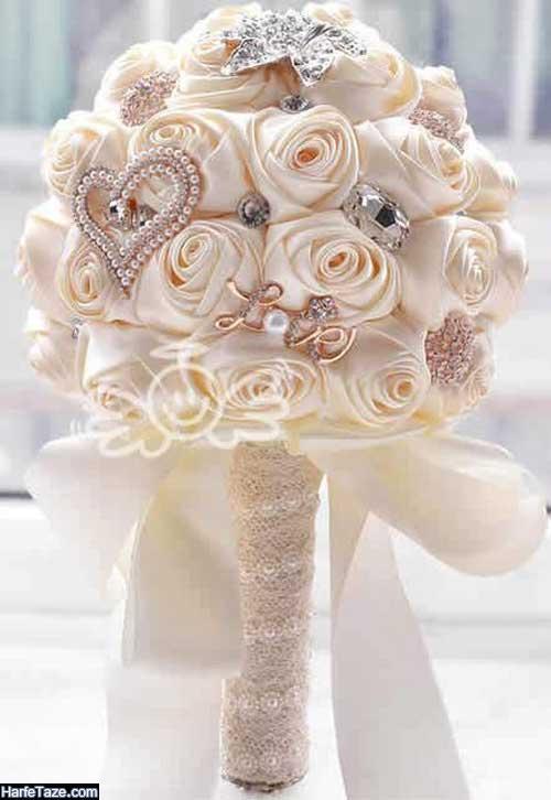 عکسهای دسته گل عروس با روبان و حریر 1400