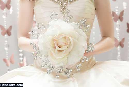 دسته گل عروس ایرانی با گلهای طبیعی