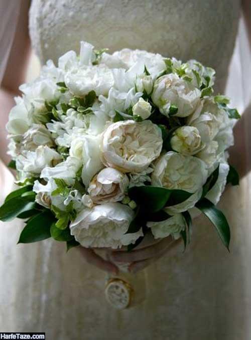 دسته گل عروس ۹۹ زیبا با گل رز سفید